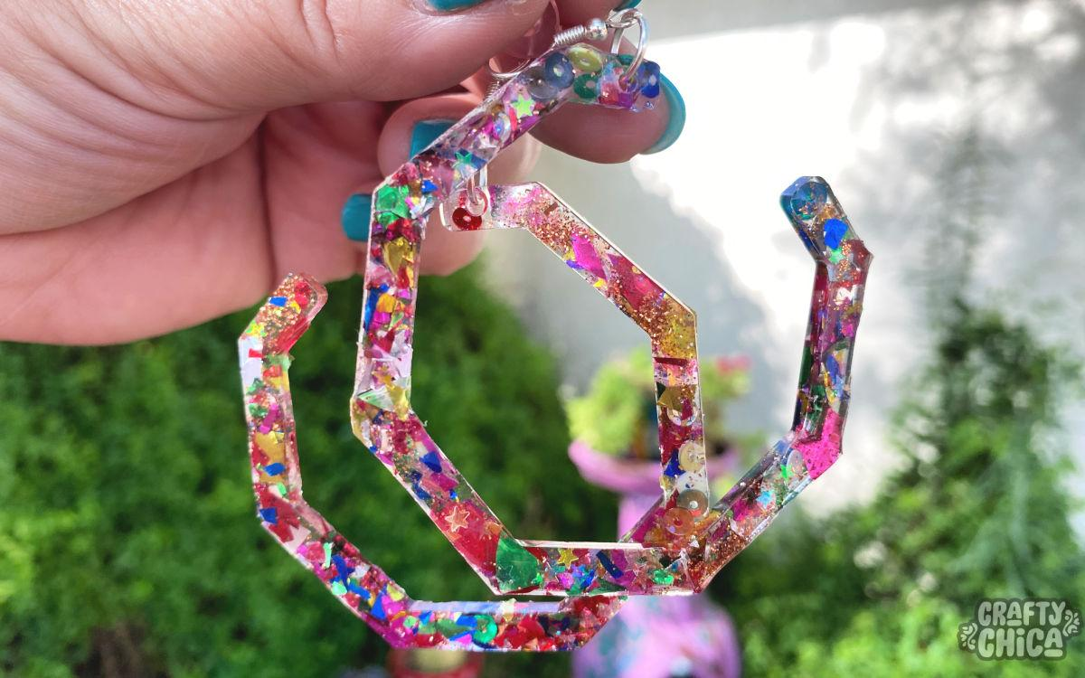 Glitter resin earrings