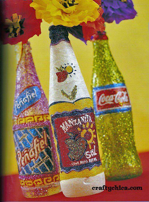 How to glitter a bottle #craftychica #glitteredbottles