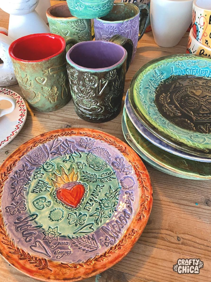 Diy Ceramics Stamped Clay Plates The Crafty Chica Crafts Latinx Art Creative Motivation