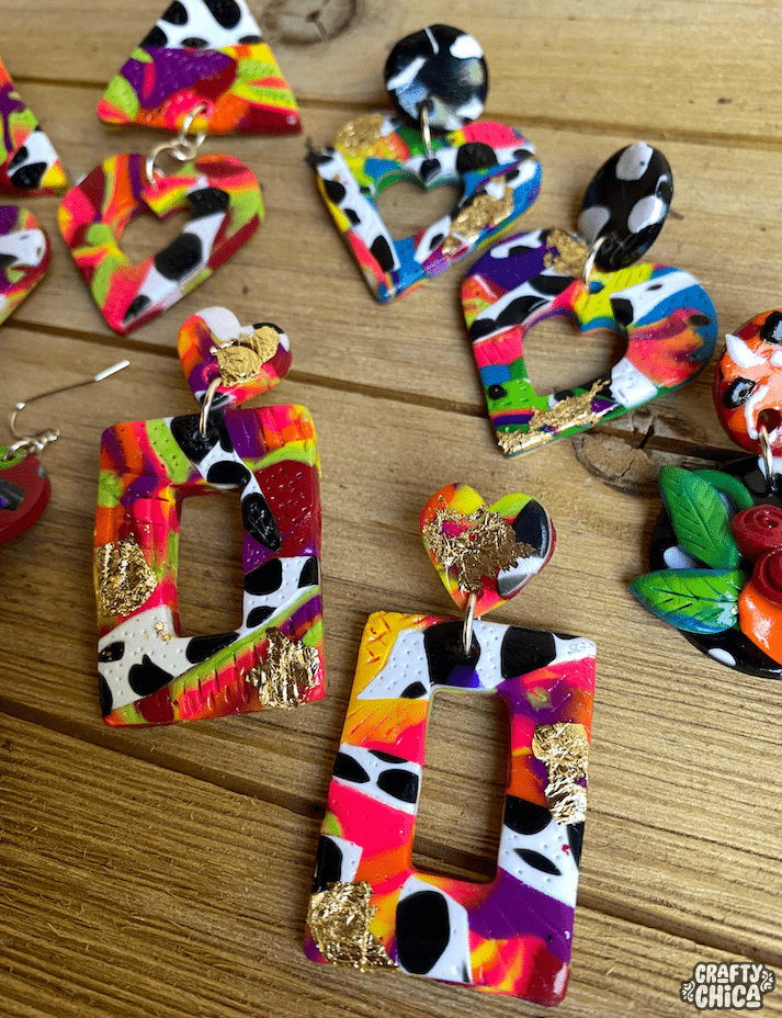 How to make beautiful marbled polymer clay earrings! #craftychica