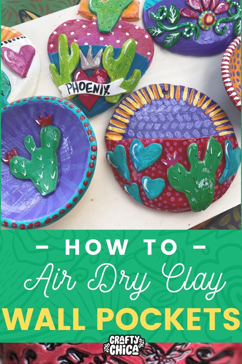 Air dry clay - let's make wall pockets! #craftychca #airdryclayideas