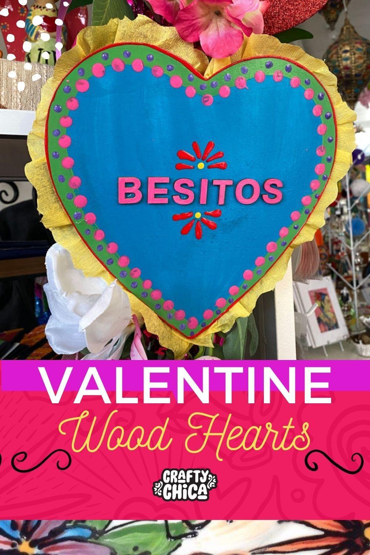Valentine wood hearts #craftychica #valentinecrafts