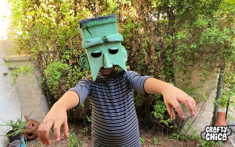Pizza Box Crafts - DIY Frankenstein Mask!
