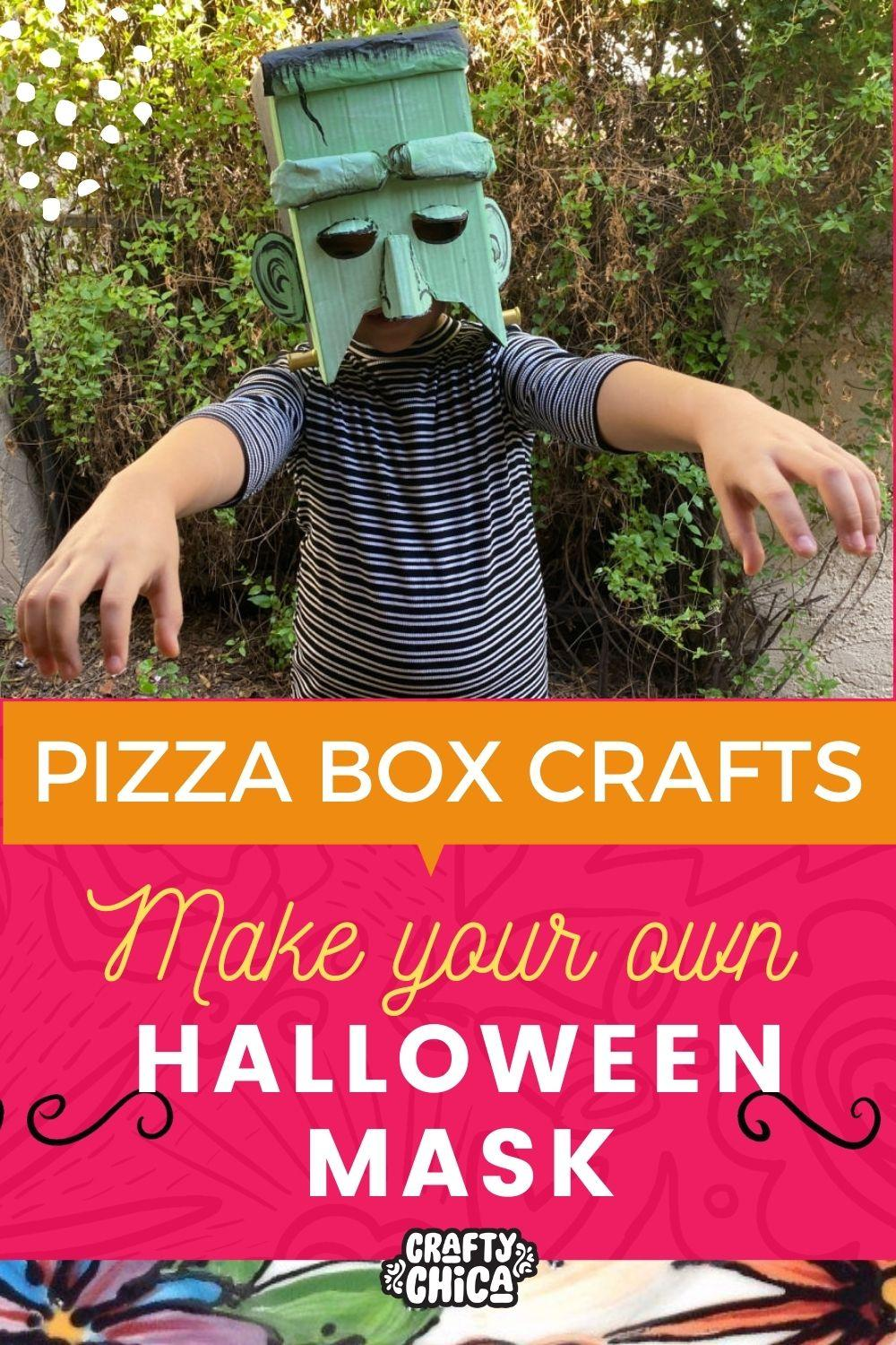 Pizza box crafts Frankenstein mask