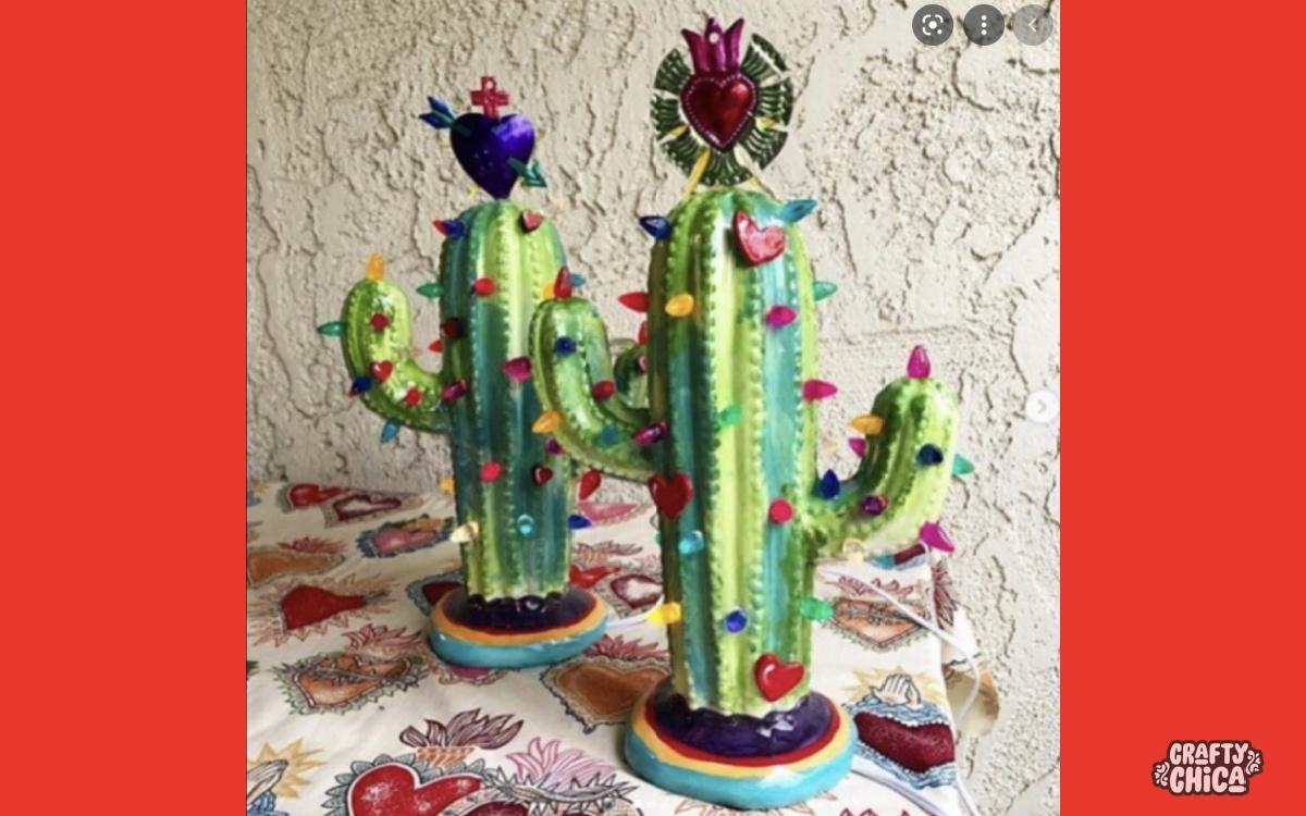 painted cactus lamp