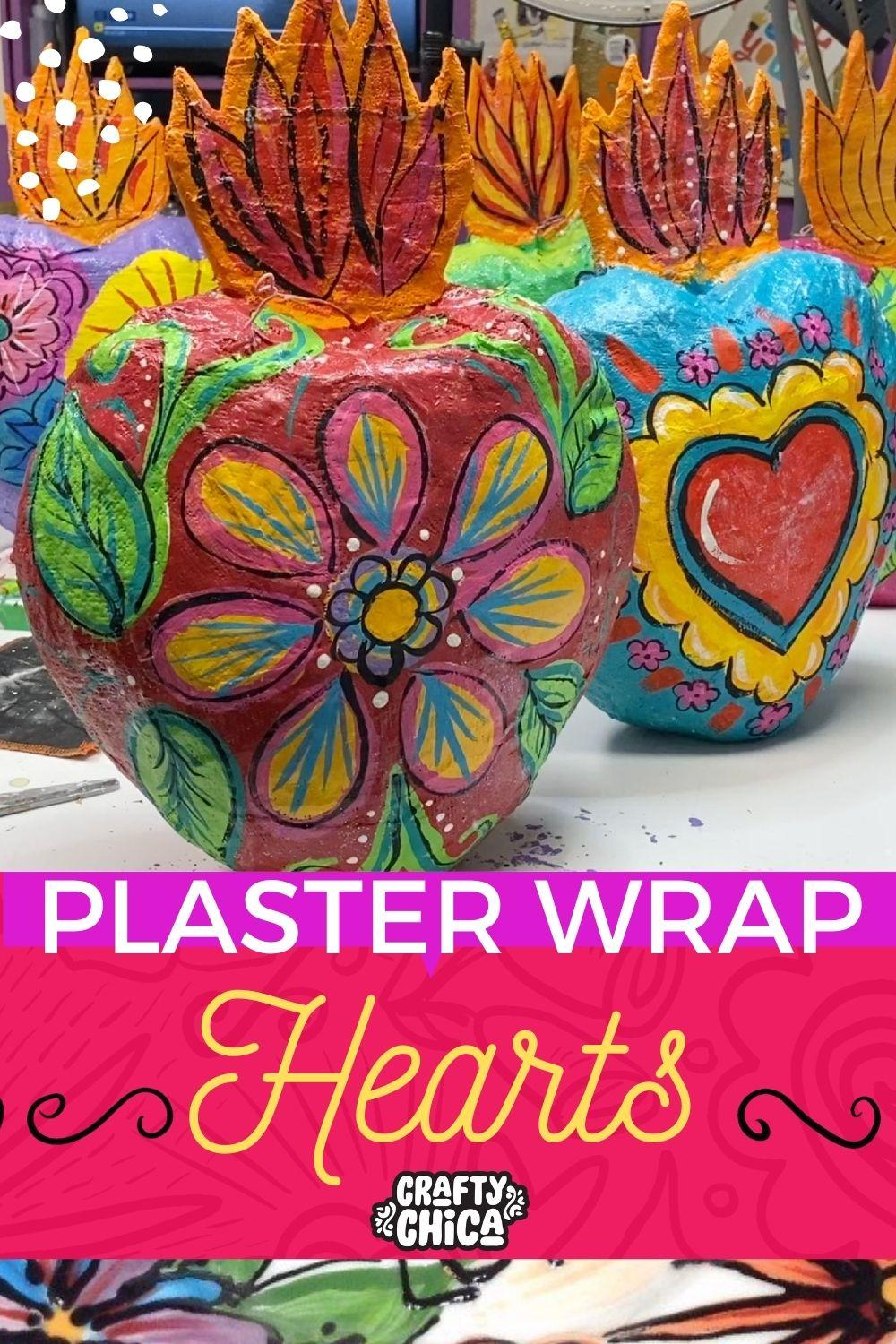 How to make plaster wrap hearts! #craftychica #papermache