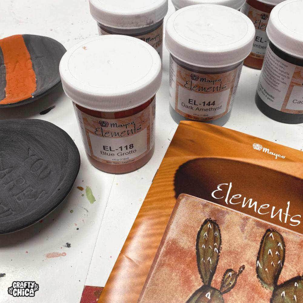 Glazing ceramics with Mayco Elements #craftychica #maycoelements #pyop