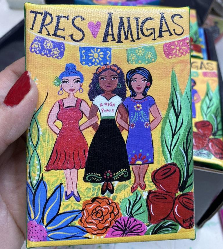 Tres Amigas Print by Kathy Cano-Murillo #craftychica #latinaartist