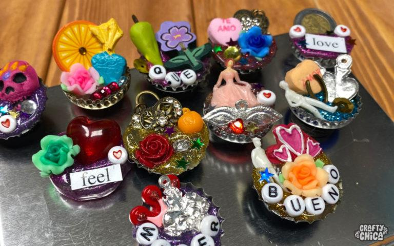 How to make bottle cap magnets - mini shrines! #craftychica #bottlecapcrafts