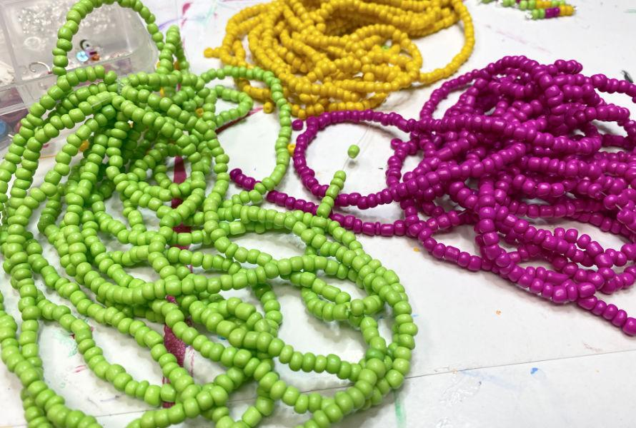 Lime gree, yellow and hot pink seed beads.