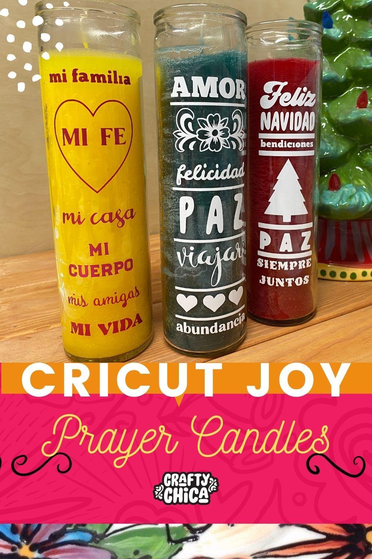 DIY Holiday prayer candles using the cricut joy #craftychica #cricutjoy
