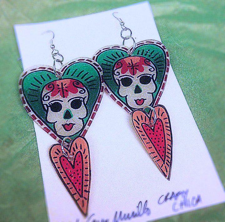 shrinky dink skull earrings