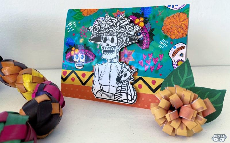 Free printable: La Catrina pop-up card #craftychica #dayofthedead
