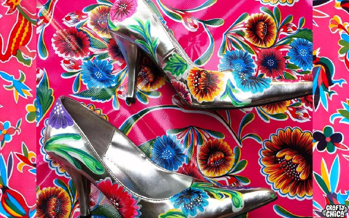 How to paint oilcloth-inspired shoes! #craftychica #paintedshoes
