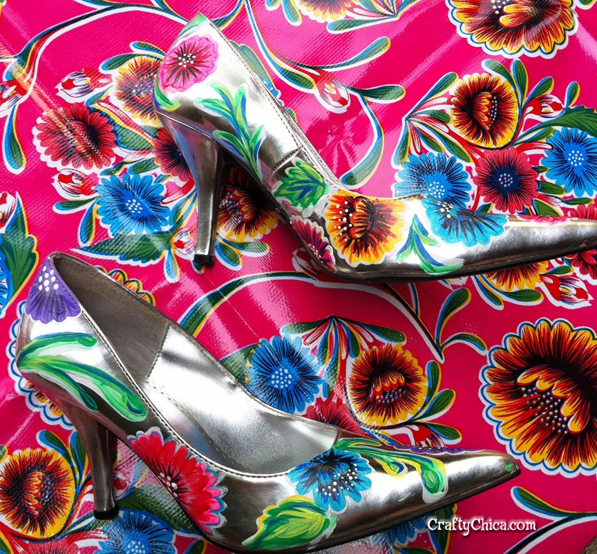 Painted oilcloth-inspired shoes