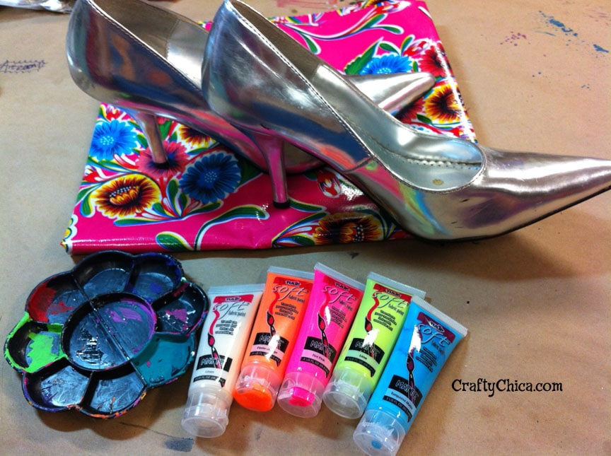 Painted oilcloth shoes supplies