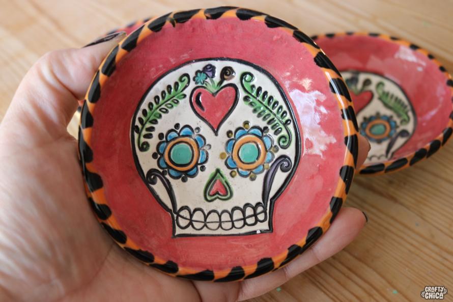 Stamped clay ring Dish #craftychica #stampedclay #sugarskullart