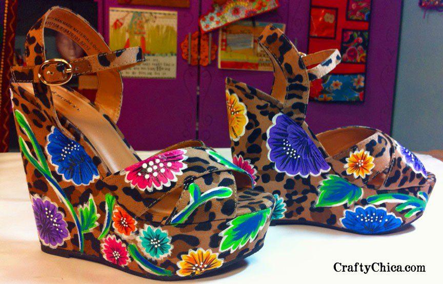 Painted platform shoes