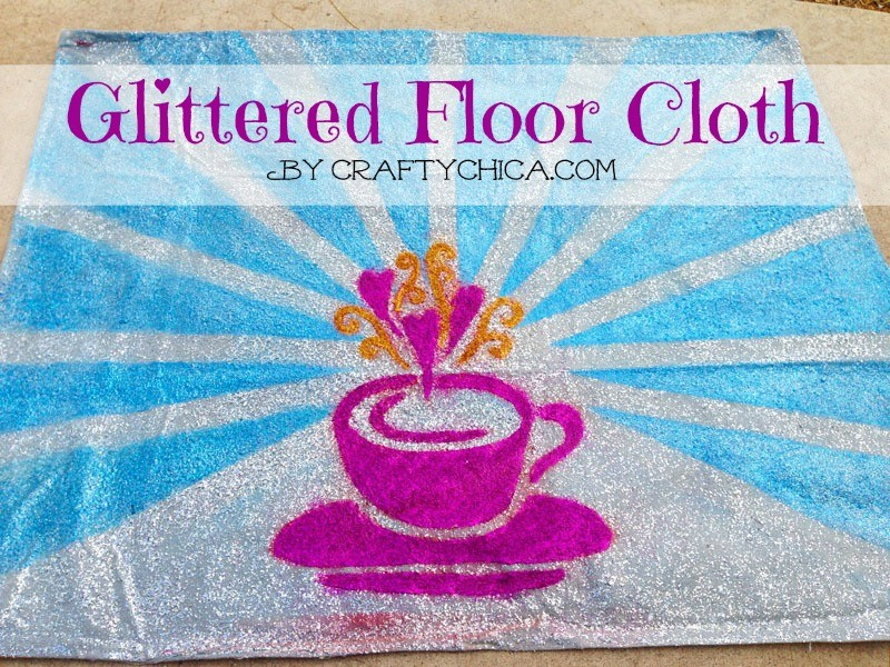 glittered-floor-cloth-diy