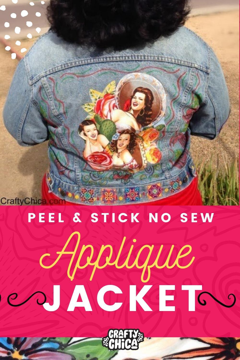 Fabric Applique Jacket #craftychica #jacketmakeover