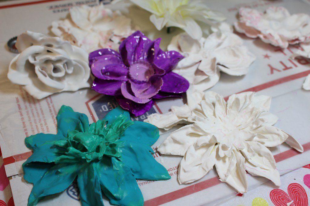 plaster-dipped flowers in progress.