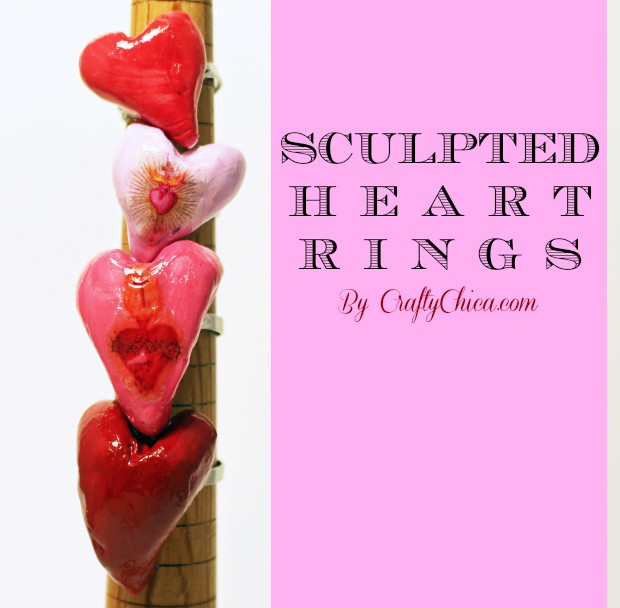 Sculpted heart rings by  CraftyChica.com