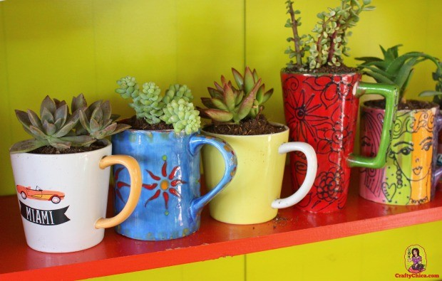 How to Make Coffee Mug Planters - The Crafty Chica! Crafts, Latinx art, creative motivation