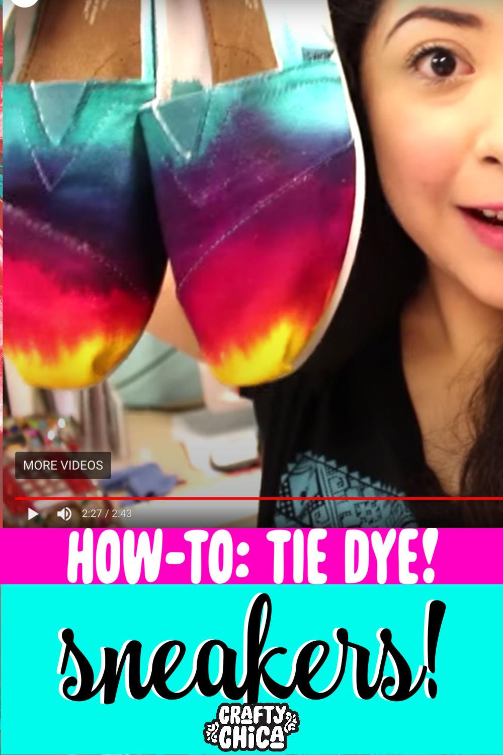 How to tie-dye your sneakers! #craftychica #tiedye