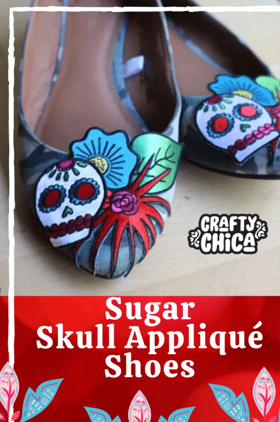 Pin it! Sugar Skull Appliqué Shoes craft DIY