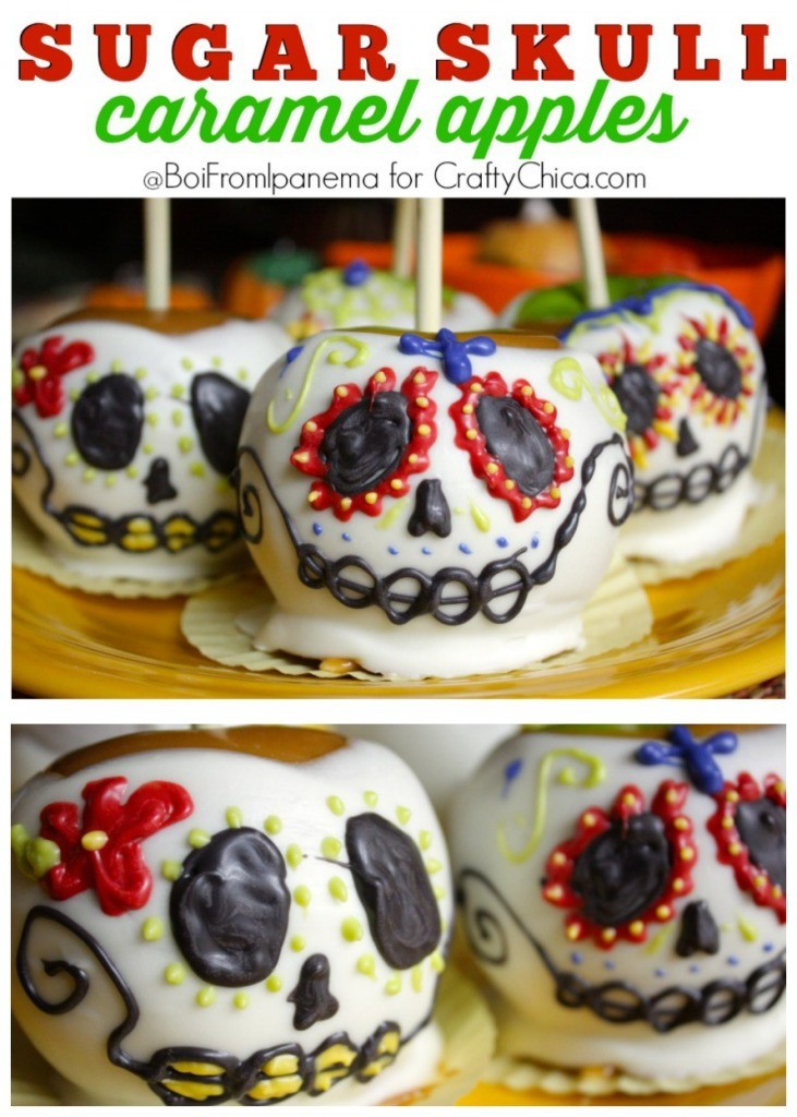 Colorful sugar skull candy apples