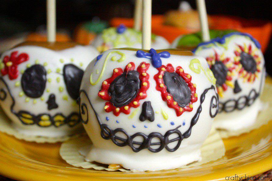 Plate of sugar skull apples