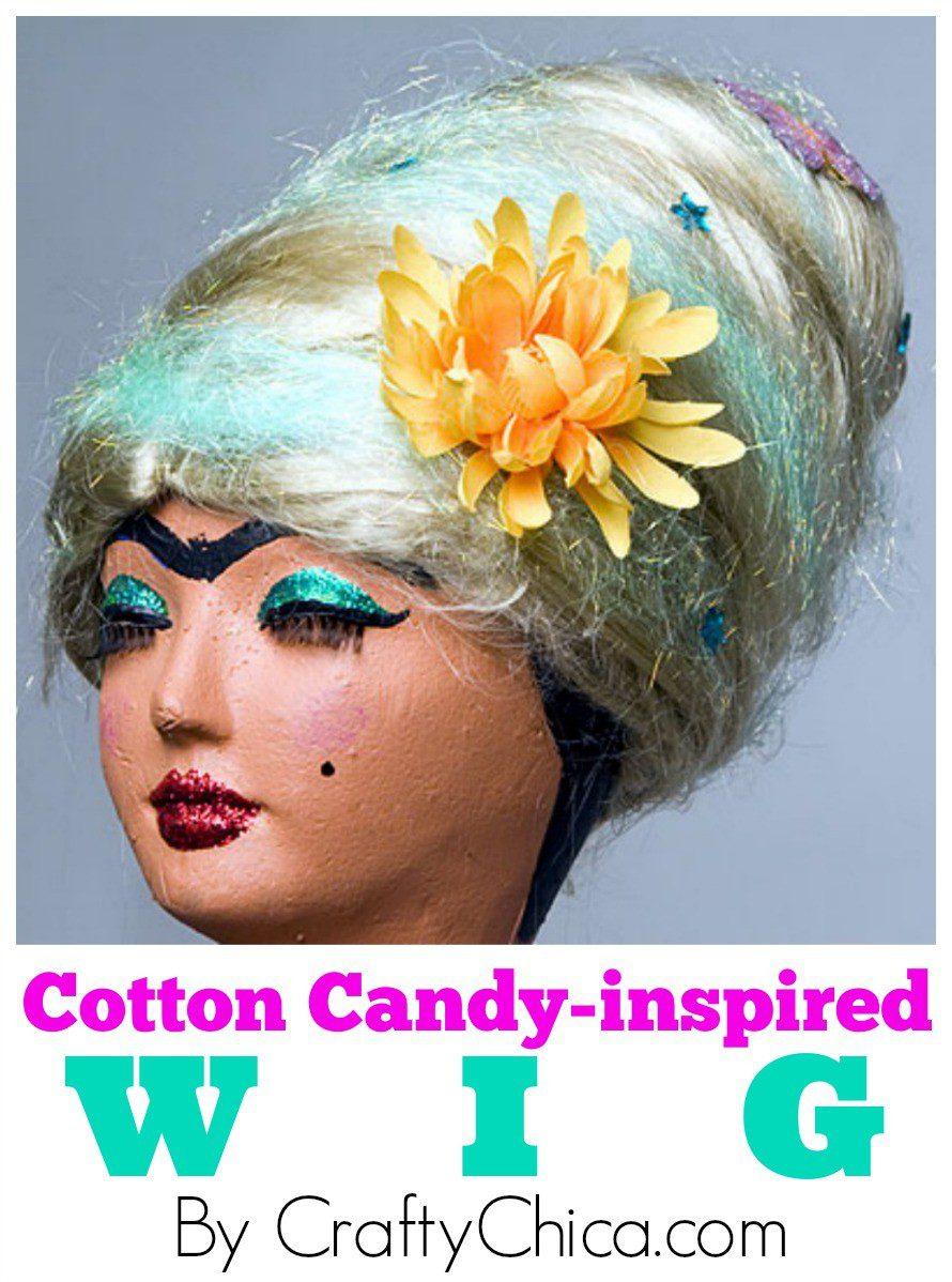 Cotton Candy DIYWig by CraftyChica.com.