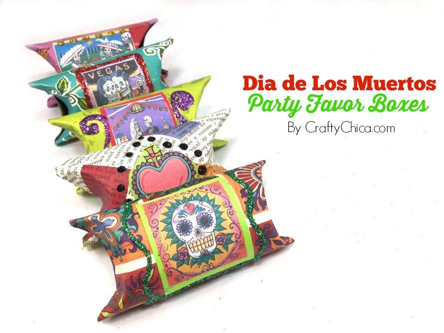 Make a set of party favor boxes for Dia de Los Muertos. By CraftyChica.com