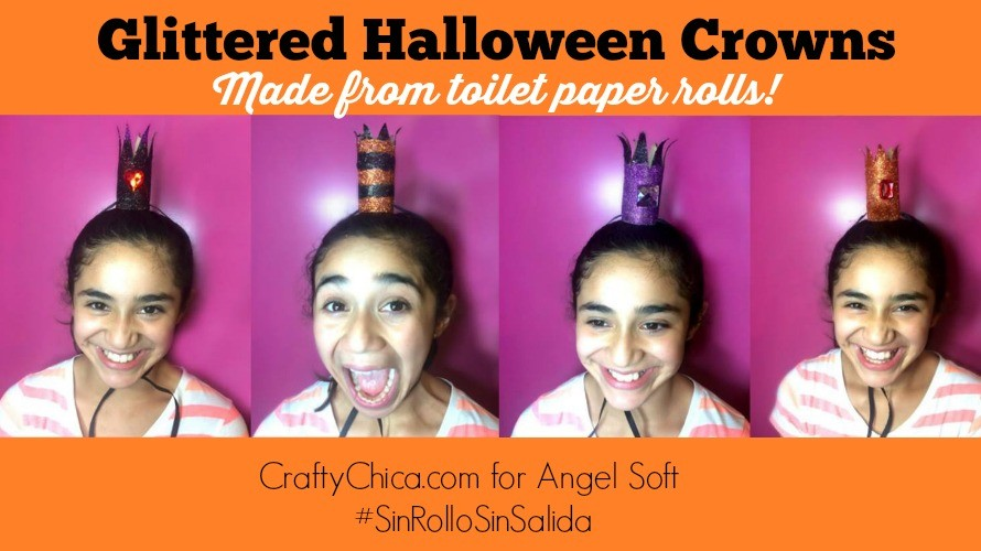 Toilet Paper Roll craft - Glittered Halloween Crowns by CraftyChica.com.