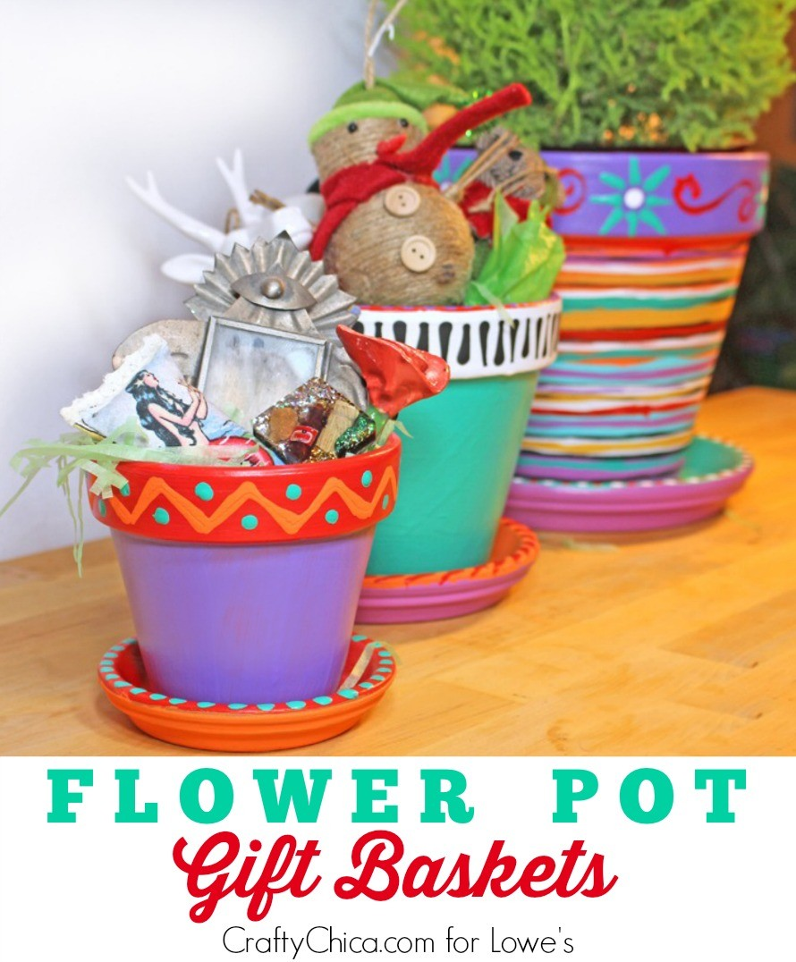 Paint flower pots, and fill with goodies to make colorful gift baskets. By CraftyChica.com.