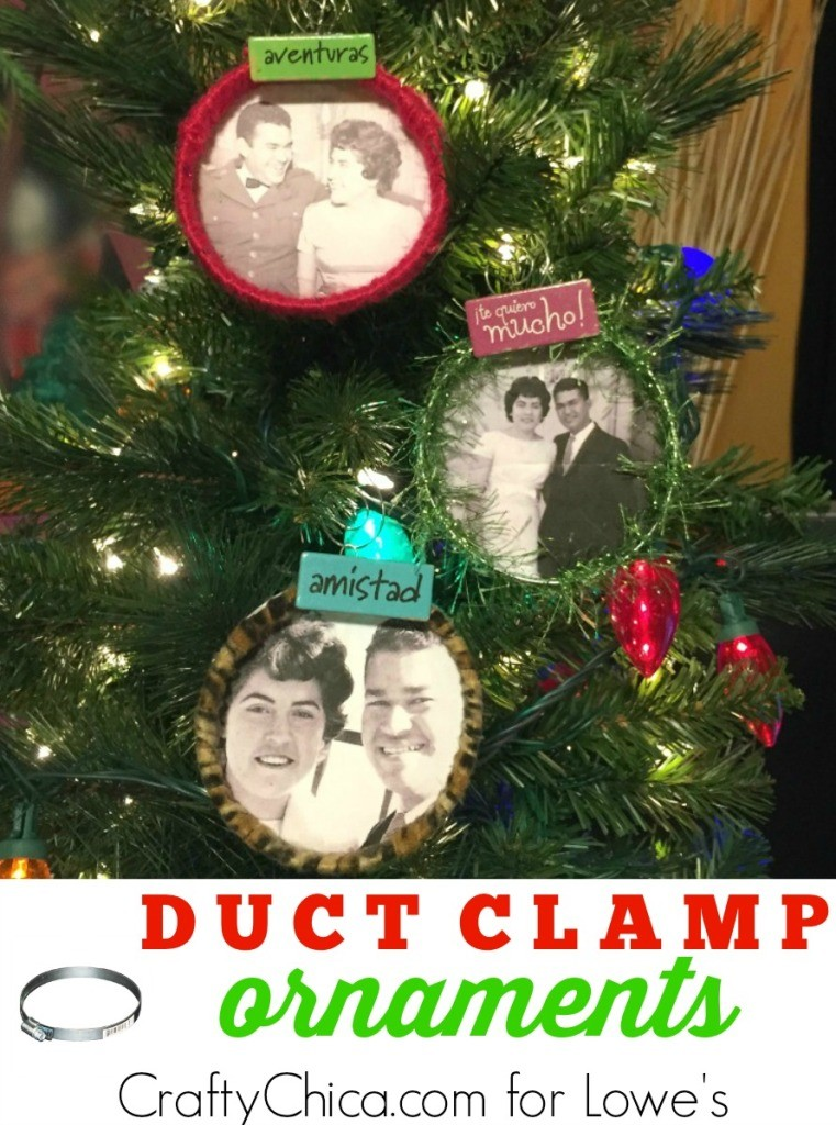 Ornaments made from duct clamps by CraftyChica.com