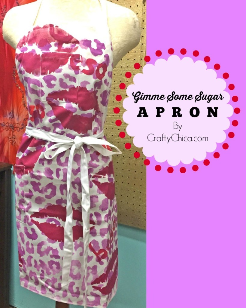 Valentine's Day apron, stenciled apron, painted apron ideas,