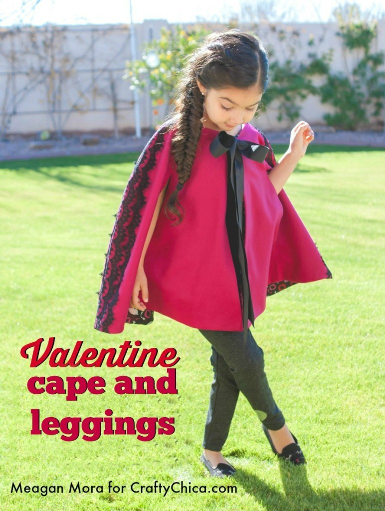 Valentine's Day cape, holiday look, Valentine's Day look, Valentines leggins, Valentines day cape,