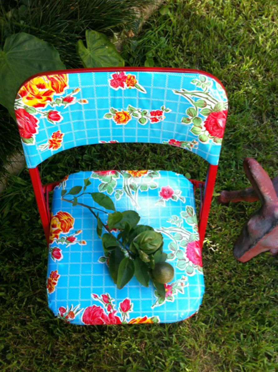 Oilcloth covered chairs