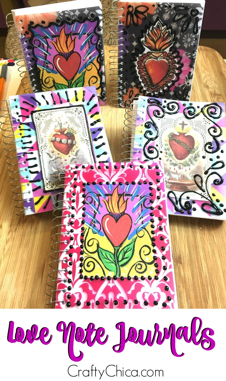 Use notebooks from the dollar store to make love note journals.