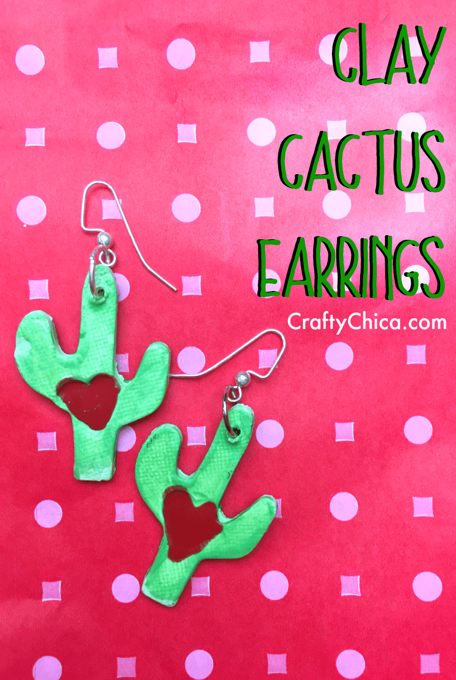 How to make clay cactus earrings by CraftyChica.com