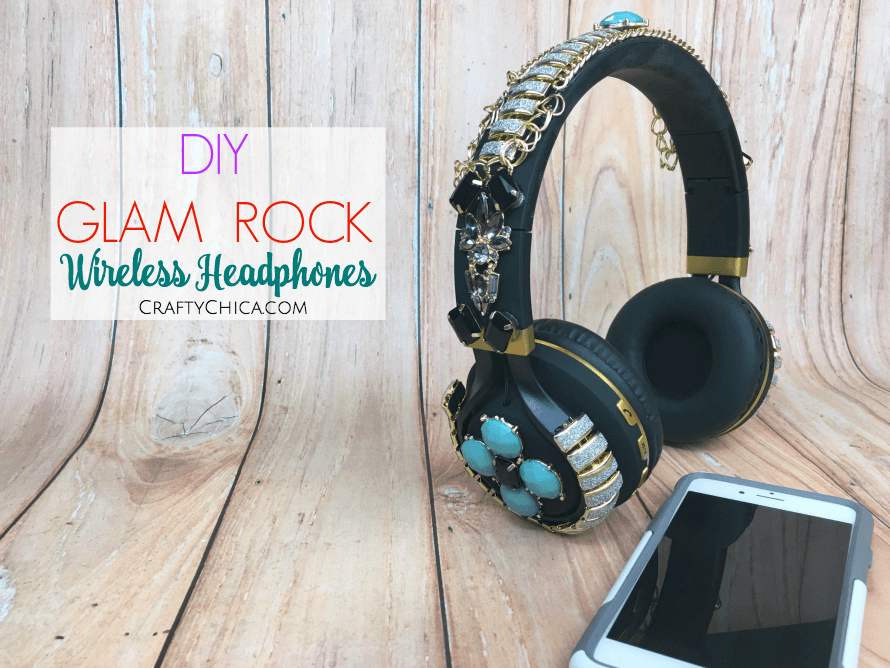 DIY Glam Rock headphones by CraftyChica.com