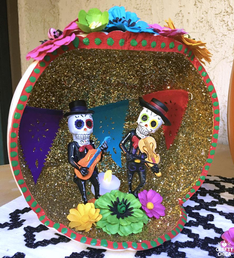 Day of the dead pumpkin shadow box
