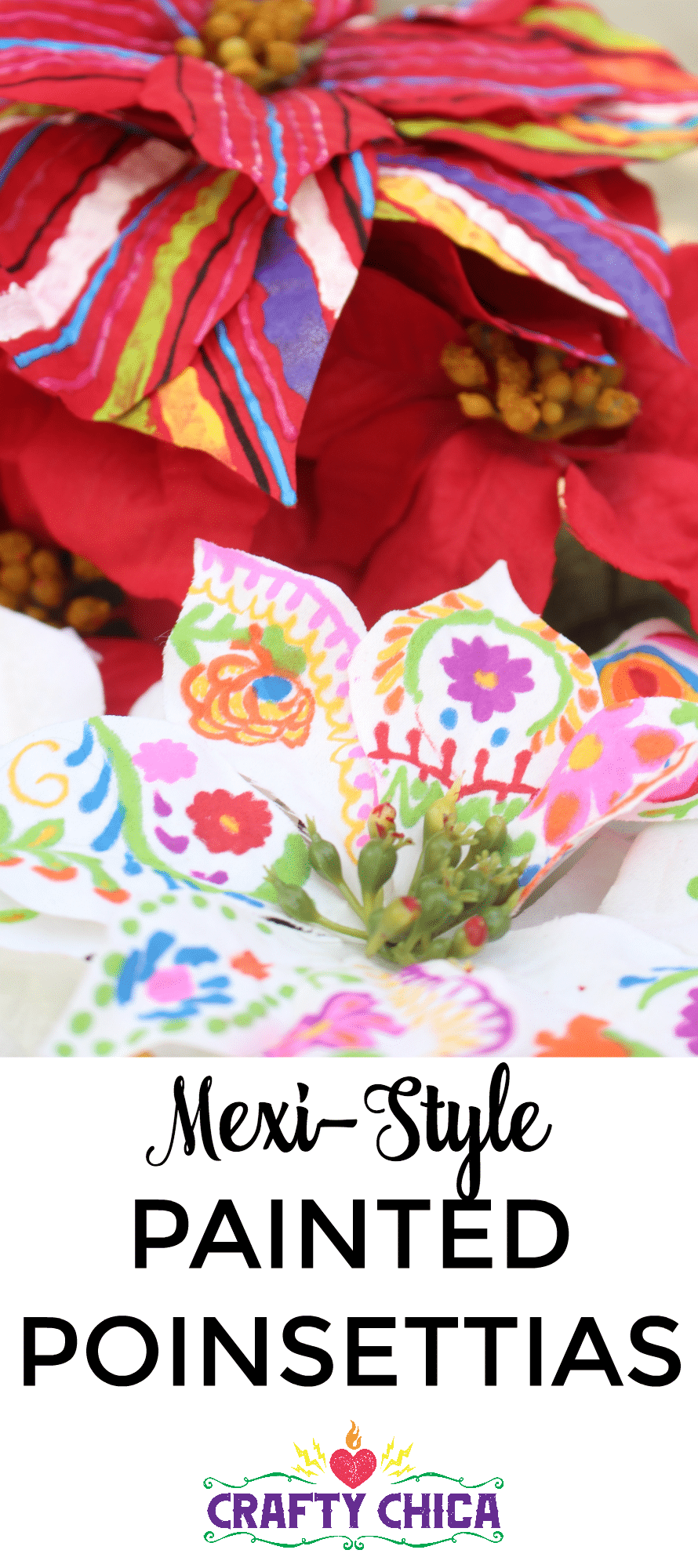 Mexi-style Painted Poinsettias by CraftyChica.com