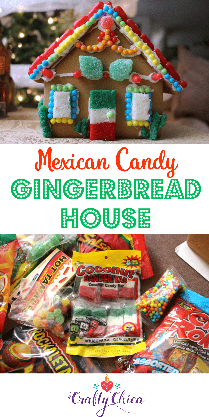 Mexican Candy Gingerbread House by CraftyChica.com.
