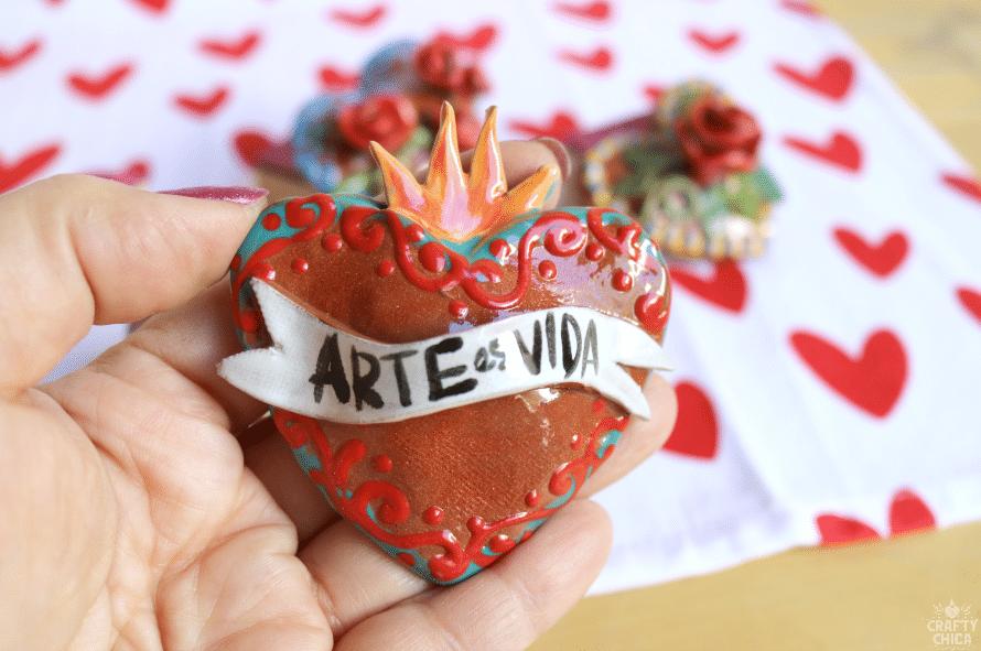 Puffy Ceramic Hearts by CraftyChica.com