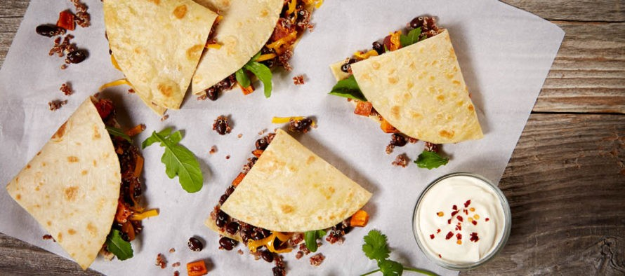 Quinoa Roasted Vegetable and Black Bean Quesadillas by La Tortilla Factory