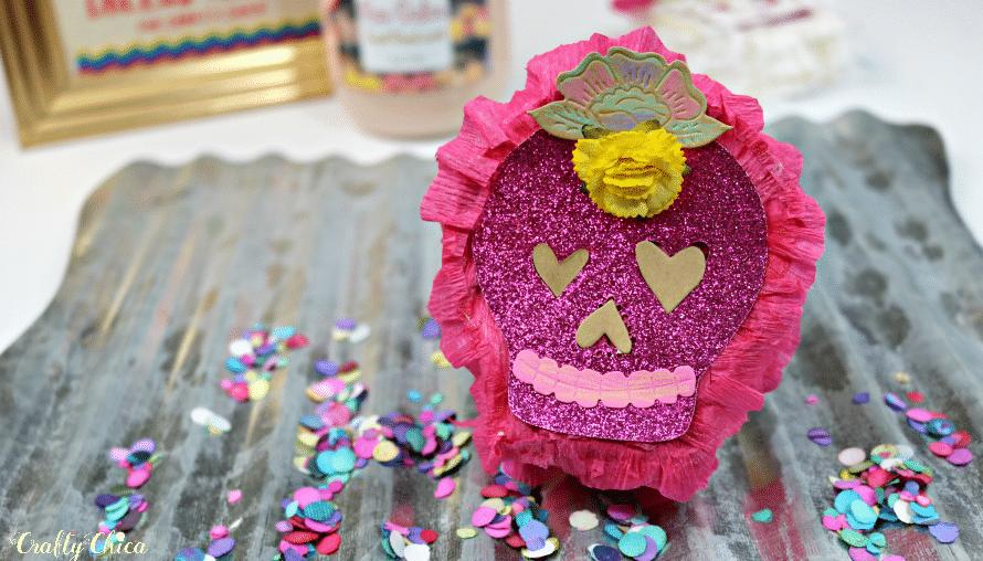 Sugar skull mini-pinata with tissue paper ruffles
