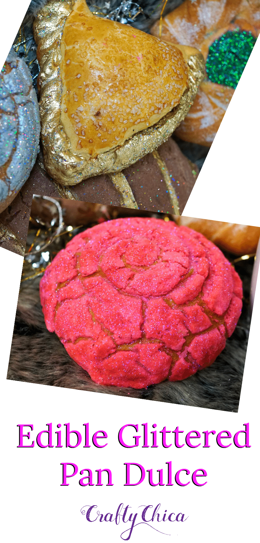 Edible glittered pan dulce and conchas