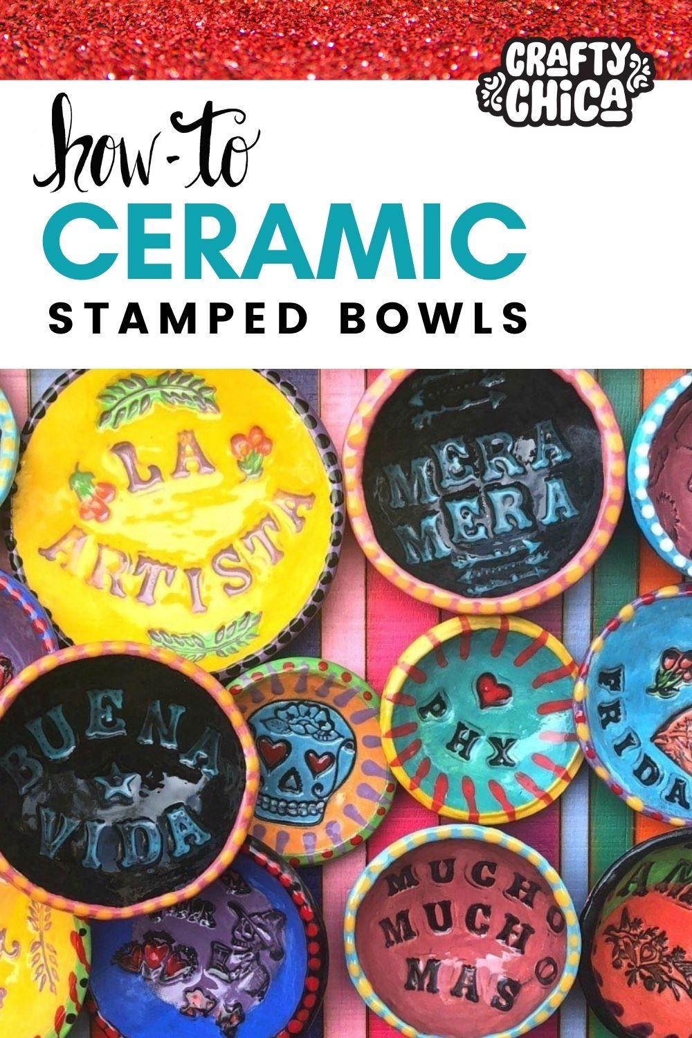 Stamped clay bowls by The Crafty Chica